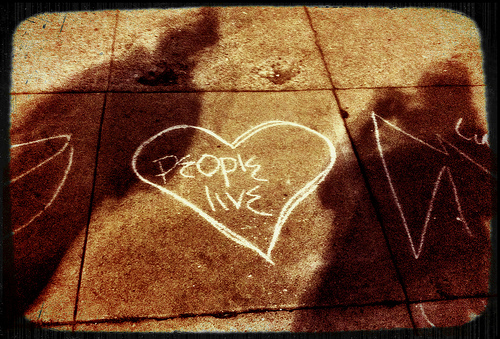 """People Live"" Street chalk graffiti (with @hackmancoltaire)"